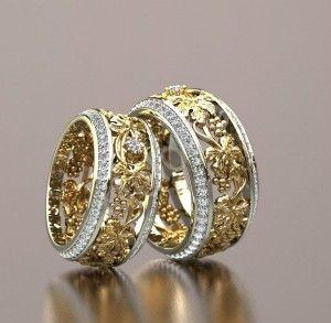 Эксклюзивные обручальные кольца из желтого золота 74500 руб.