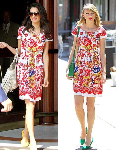 Taylor Swift and Amal Alamuddin wore the same Oscar de la Renta dress -- but who wore it best?!