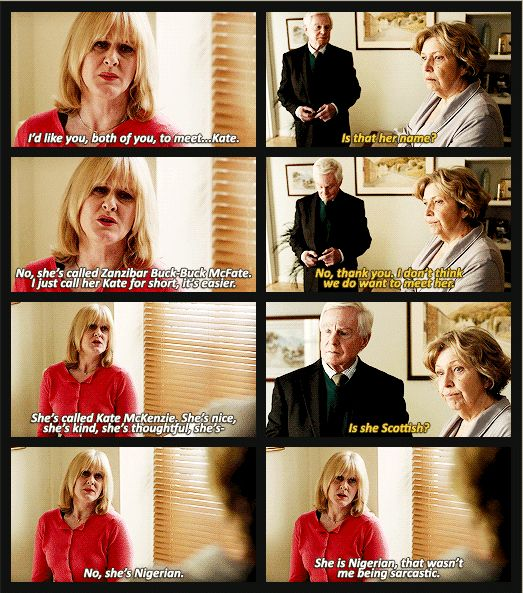 Sarah Lancashire playing Caroline Elliot in Last Tango in Halifax.  One of my favourite dialogues