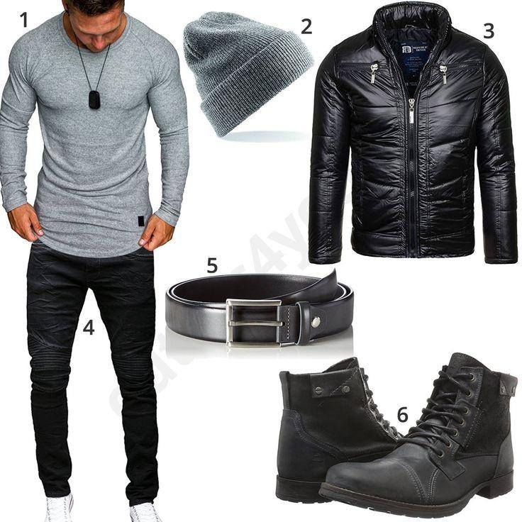 Grau-Schwarzes Herrenoutfit mit Lederjacke & Boots (m0706) #outfit #style #herrenmode #männermode #fashion #menswear #herren #männer #mode #menstyle #mensfashion #menswear #inspiration #cloth #ootd #herrenoutfit #männeroutfit