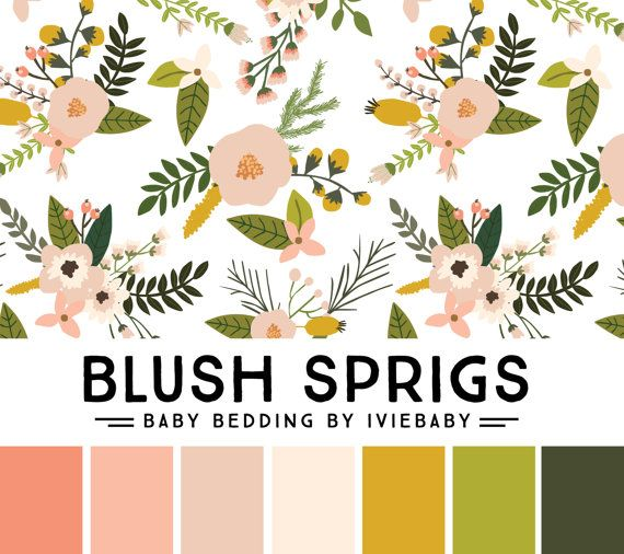 Blush Sprig Baby Bedding. Floral Crib Sheet. Coral by Iviebaby