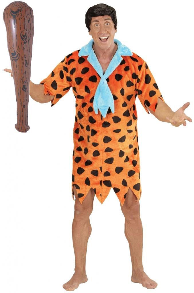 2Pc Set Caveman Fred Flintstone Bedrock Outfit And Inflatable Club Mens Dress Up #cluboutfits