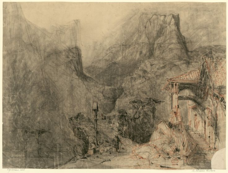 """Set design (1842), by Charles-Antoine Cambon (1802-1875), for Act 2 of """"Le vaisseau fantôme"""" (1842), by Pierre-Louis-Philippe Dietsch (1808-1865)."""
