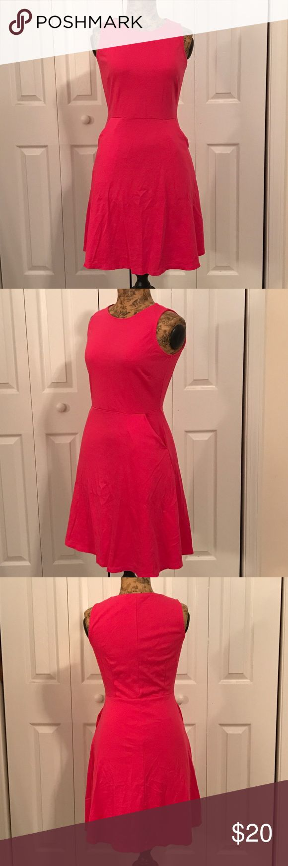 New York and Company Fit and Flare Fit and flare pink New York and company dress with pockets. Really pretty pink color and super comfy!! New York & Company Dresses