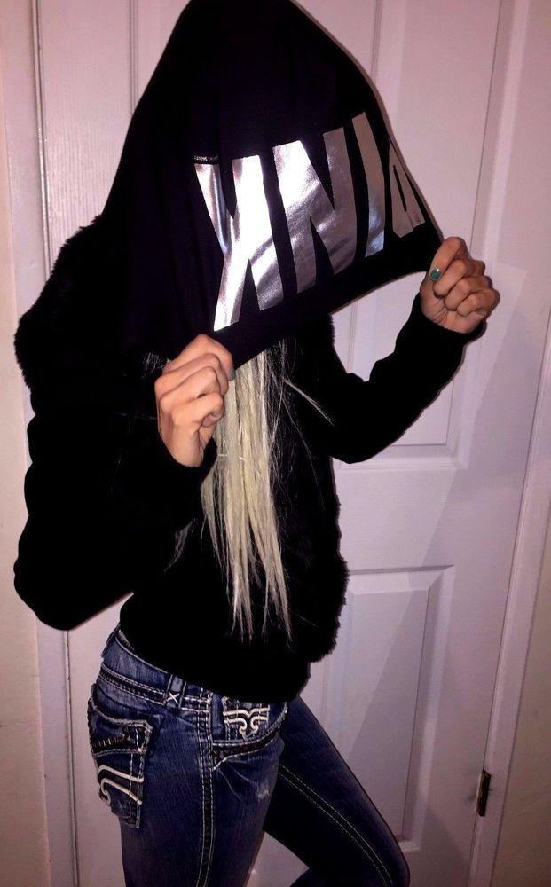 Victoria's Secret PINK Faux fur Coat sweatshirt Jacket FOIL LOGO on Hoodie XS-S #VictoriasSecret #Hoodie