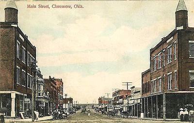 Claremore Oklahoma OK 1908 Downtown Main Street Antique Vintage Postcard
