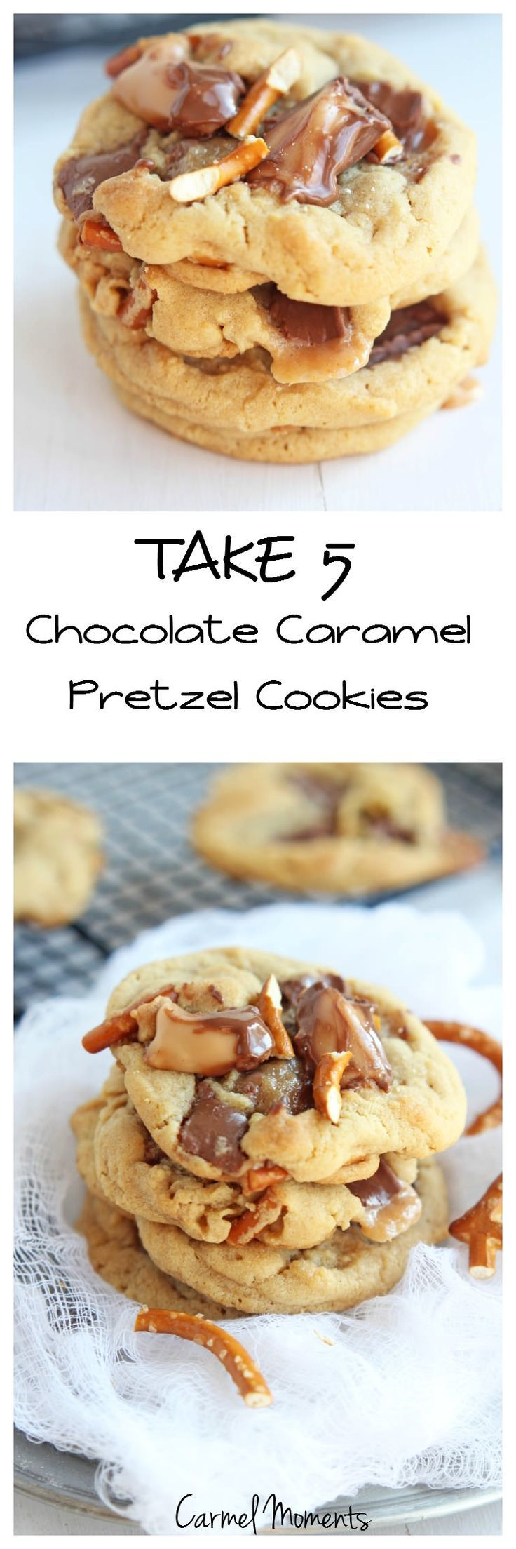 Take 5 Chocolate Caramel Pretzel Cookies --Everything delicious like the candy bar, chocolate, peanut butter, peanuts, caramel and chocolate.   http://gatherforbread.com