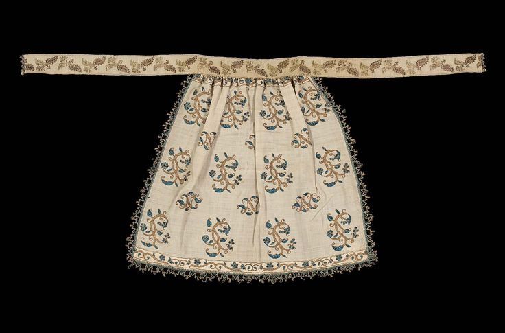 late 16th–early 17th century, Europe - Embroidered apron - Linen ground with gold metal and silk embroidery, gold metal and silk cord trim, and a gold metal and silk ribbon waistband