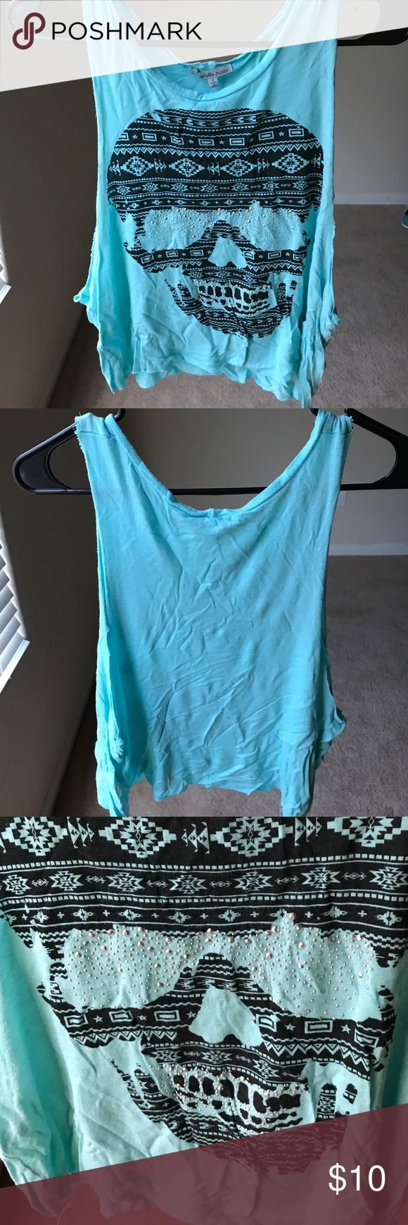 Blue Tank Top This top has sparkle and side cutouts to show off your super cute bralette! Looks and feels great! Charlotte Russe Tops Tank Tops