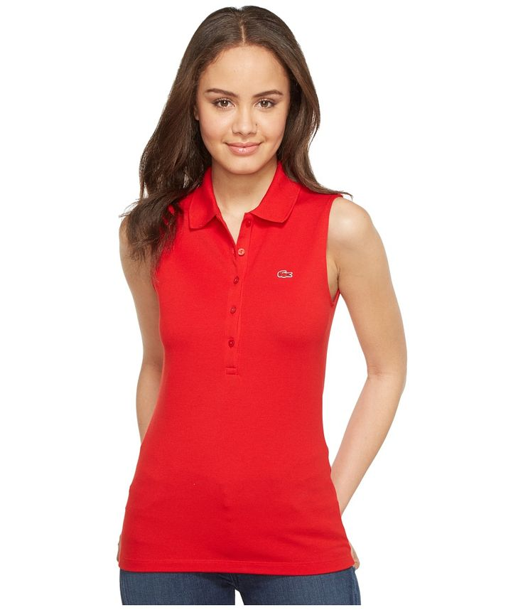 LACOSTE LACOSTE - SLEEVELESS STRETCH MINI PIQUE POLO (RED) WOMEN'S CLOTHING. #lacoste #cloth #
