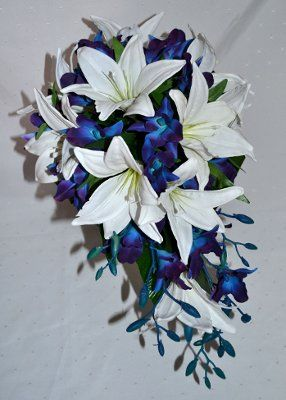 White Lily and Blue Orchid Bouquet.