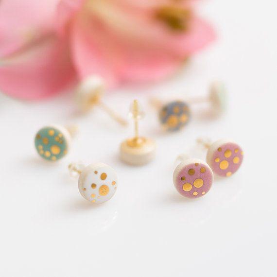 Gold stud earrings Gold polka dot earrings Ceramic earrings Porcelain jewelry Sterling silver Artisan earrings tiny studs Pastel earrings