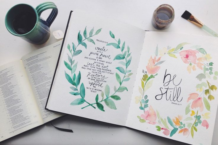 Create in me a clean heart. Psalm 51 // Be still. Psalm 37 // Watercolor & hand lettering.