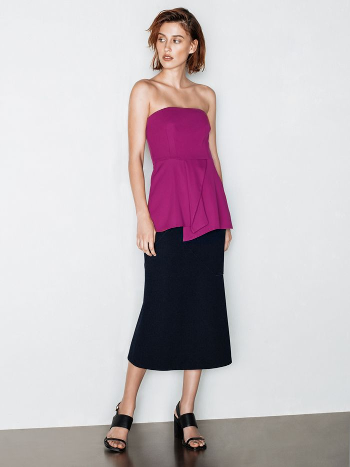 Crepe Double Weave Bodice & Bonded Twill Fluted Skirt
