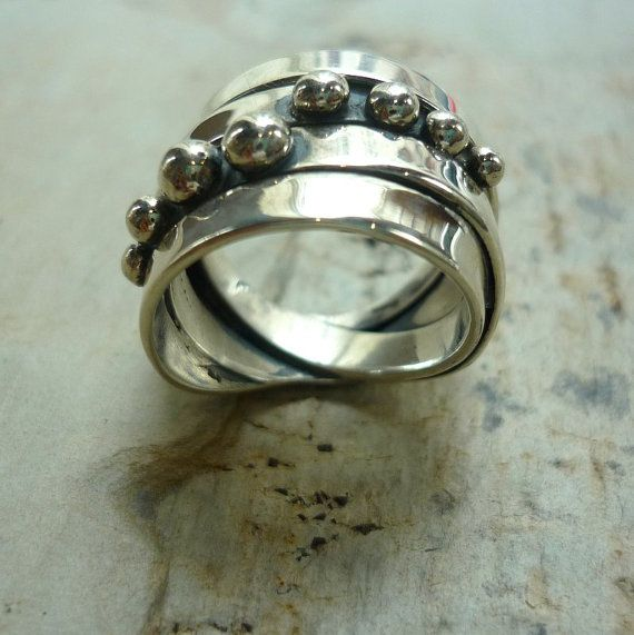 Sterling silver wire wrapped ring wide silver bands by Ellishshop, $121.00