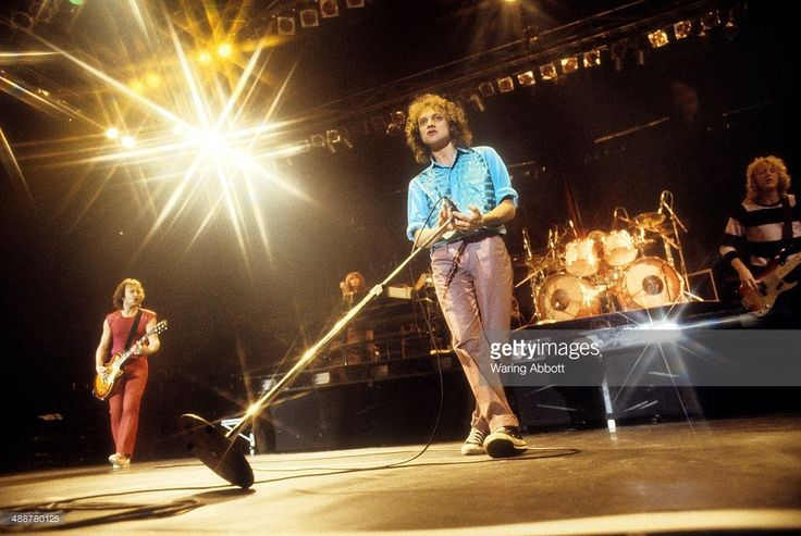 British guitarist Mick Jones, American keyboardist Al Greenwood, American vocalist Lou Gramm and British bassist Rick Wills of the British-American rock group Foreigner performing live at New Haven Veteran's Coliseum on January 1, 1979 in New Haven, Connecticut.
