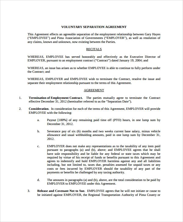 That Employment Separation Agreement Considerably Simplifies