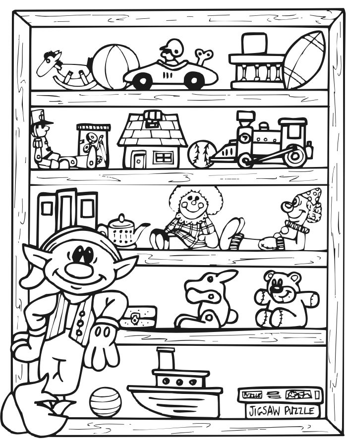 printable christmas coloring page of an elf and toy shlef - Toy Coloring Pages