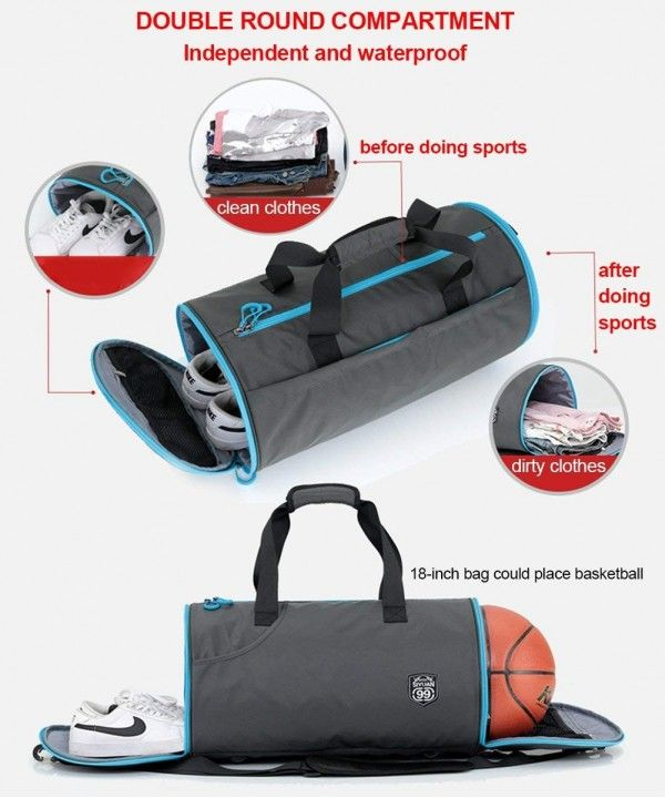 b261a59bda05 Sports Duffel Bag- Waterproof Foldable Round Gym Bag with Shoe ...