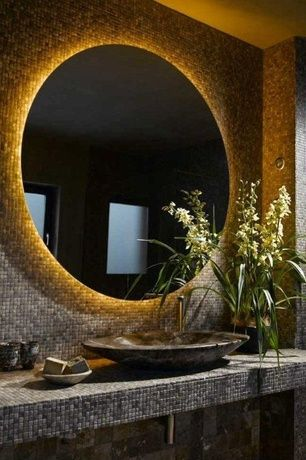 Contemporary Powder Room with Powder room, High ceiling, Vessel sink, Roterra slate mosaic - slate mosaics in multi raja