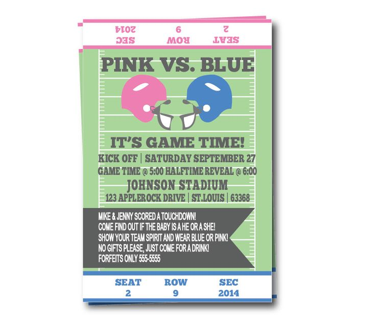 Gender Reveal Party Invitation, Football Themed Baby Reveal Party Invite by AntsyDesigns on Etsy https://www.etsy.com/listing/105133626/gender-reveal-party-invitation-football