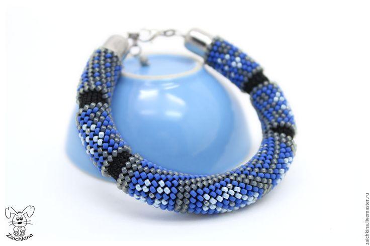 Купить Браслет из японского бисера - разноцветный, серый, серый цвет, голубой, голубой цвет