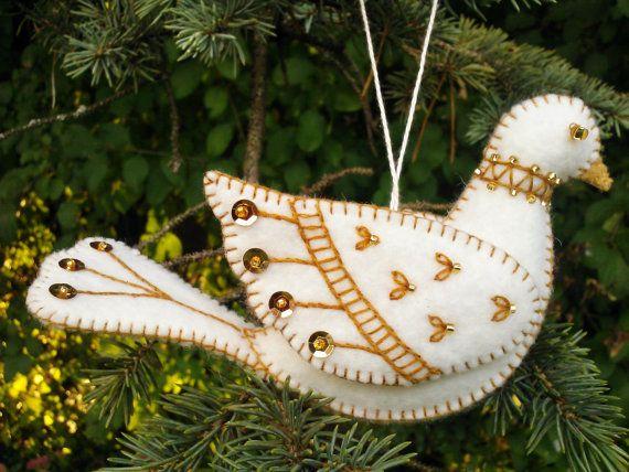 White and Gold Wool Felt Dove Ornament, Wool Felt Bird Ornament