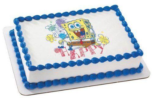 1/4 Sheet ~ Spongebob Happy Birthday ~ Edible Image Cake/Cupcake Topper!!!