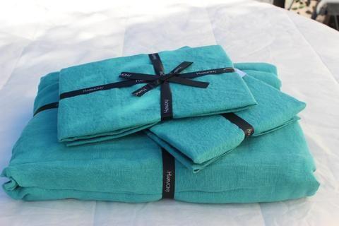 Harmony - Taie oreiller en lin lavé Viti bleu vert Aqua ou taie traversin - Home Beddings and Curtains