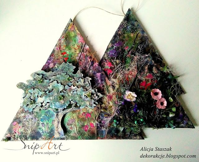 mixed media triangles triptych