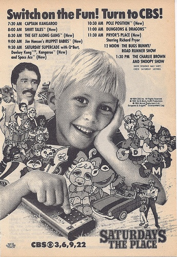 CBS Saturday Morning Cartoons ad with Shirt Tales & Muppet Babies, 1984