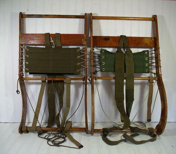 Antique Canvas Amp Wood Back Pack Frames Vintage Hand Made