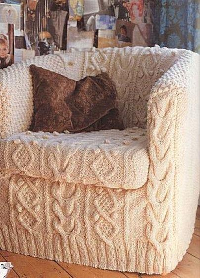 This Knitted Slip Cover Will Help Bring A Touch Of Whimsy Into Your Home.  Transform A Boring Chair Into A Cozy Piece Of Knit Decor Using This Handy  ...