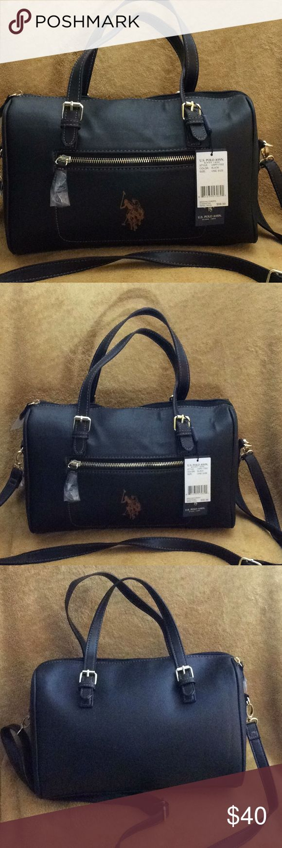 US POLO ASSN BLACK HANDBAG WITH GOLD ZIPPER NWT US POLO ASSN BLACK HANDBAG WITH GOLD ZIPPER. New with tag no stains or cuts. It is as you see in the pictures US POLO ASSN Bags Satchels