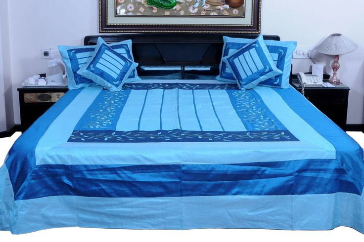 The 5 Piece Silk Double Bed Cover set contains. One Double Bed Cover in hand block design. Two matching pillow covers. Two matching cushion covers(Set of 5)