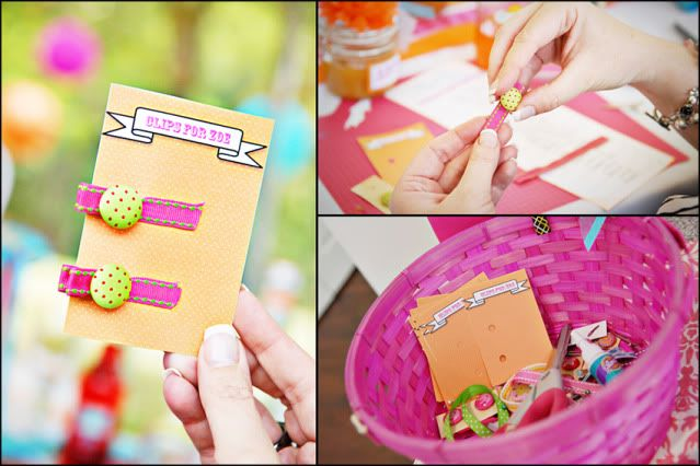 baby shower: guest make hair clips for the baby girl