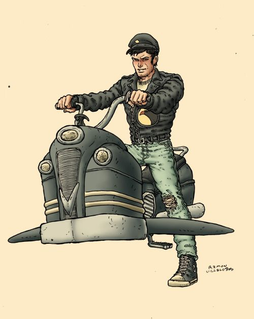 Did this sketch of Blackhawk. I thought the New 52 concept for Blackhawk was misguided to say the least and having him be a renegade 1950s diesel punk biker was cooler to me. I like the concept of dieselpunk but I think I'm really bad at drawing it. Either way, this was my try at it. -Ramon