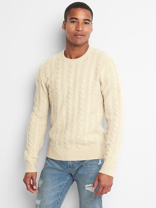 3512a3dbeb51ad Gap Mens Wool Cable-Knit Crewneck Sweater Cream