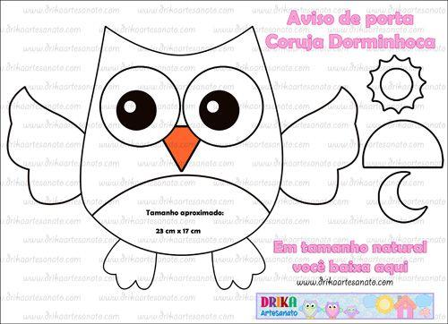 Molde aviso de porta Coruja Dorminhoca - Drika Artesanato - O seu Blog de Artesanato.