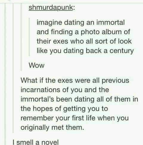 """What if the lover has some sort of issue and comes back 60 years later to find the woman as a sick elderly person on her death bed, and before she dies whispers """"I remember"""""""