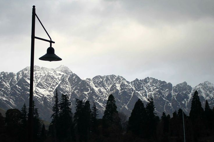 Lamp post #lamp #post #Queenstown #newzealand #nz #mountain's #snow #trees #nature #beautiful
