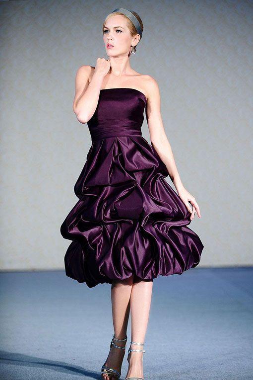Strapless ball gown tea-length satin bridesmaid dress