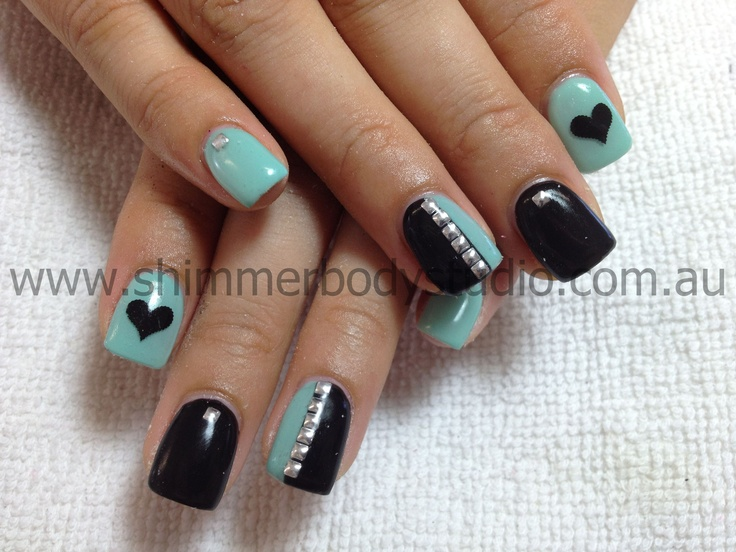 Gel Nails, Colour Nails, Black Nails, Turqoise Nails, Studs, Silver Studs, Hearts Nail art.