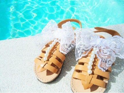 Lace Bow Kids Sandals