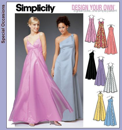 Simplicity Dress Patterns | Patterns › Simplicity › 5096 Formal dress, Design your own