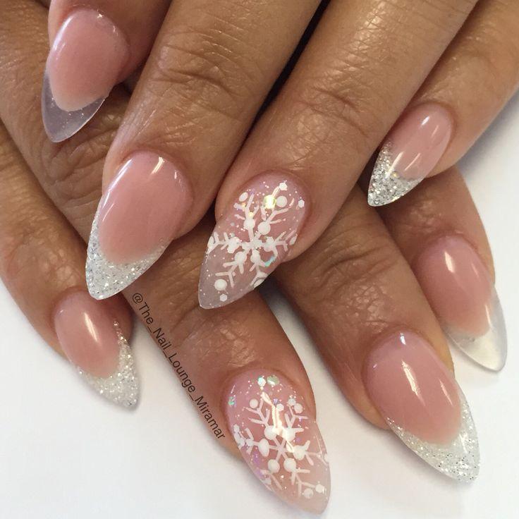 Christmas snowflakes stiletto nail art design