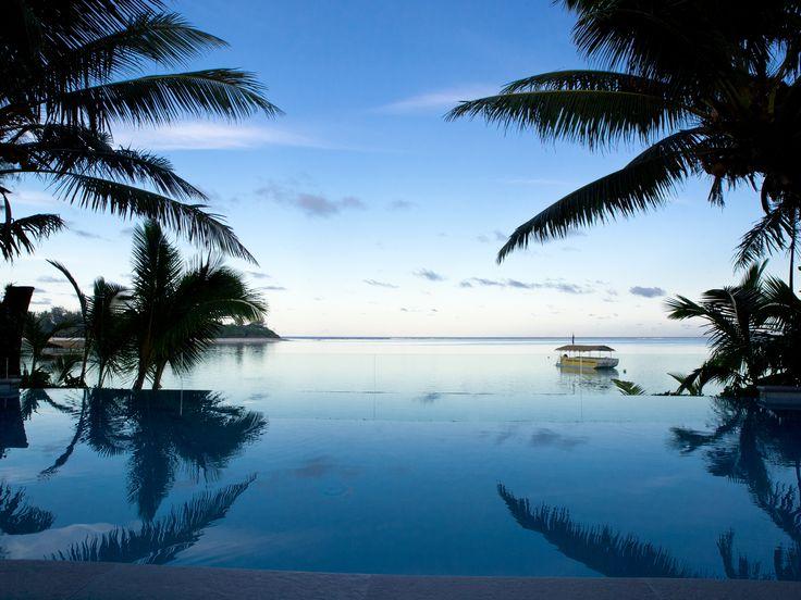 View at twilight from the infinity pool at #TeVakaroaVillas #MuriBeach #Rarotonga #CookIslands