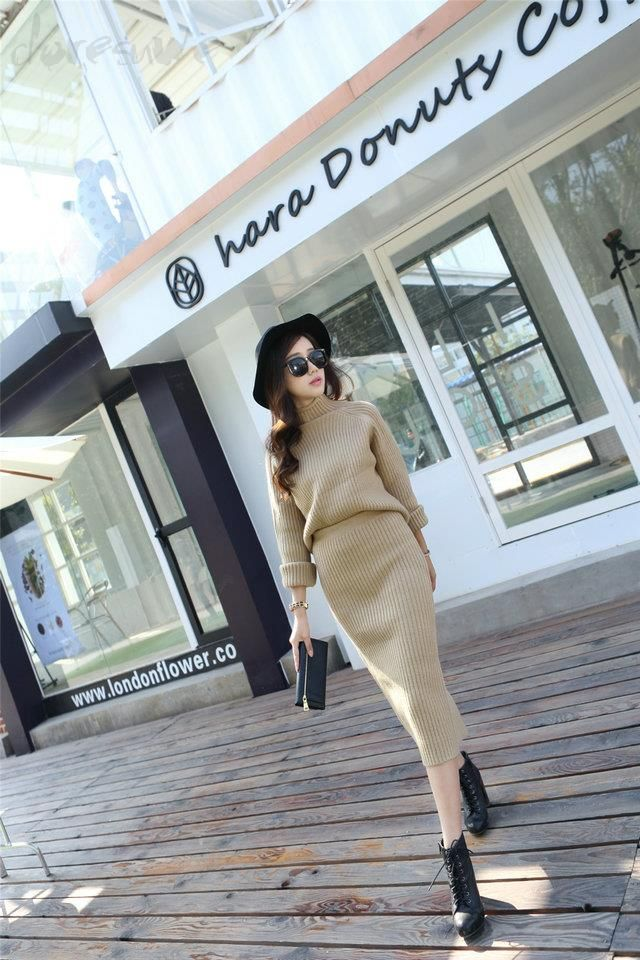 Doresuwe.com SUPPLIES 2015秋冬レディース ファッション ハイネック復古2点セットニットドレス 格安ドレス (3)