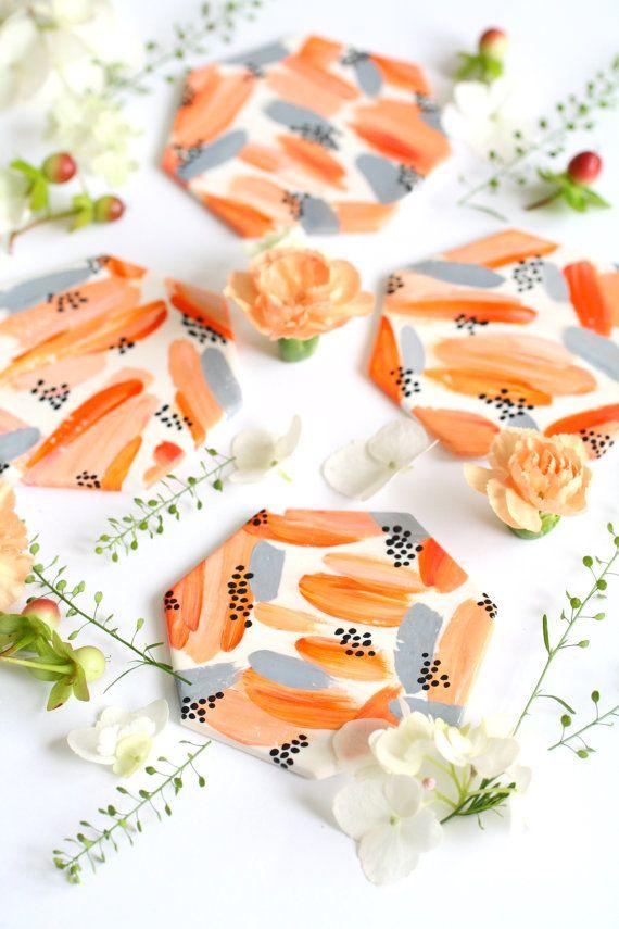 Brushstroke Geometric Coasters  Pastel Orange Grey by Mahalolena