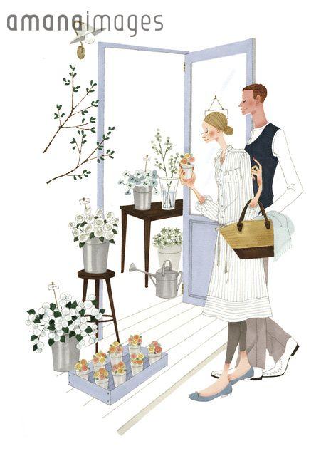 花屋で買い物する男性と女性 (c)Asterisk